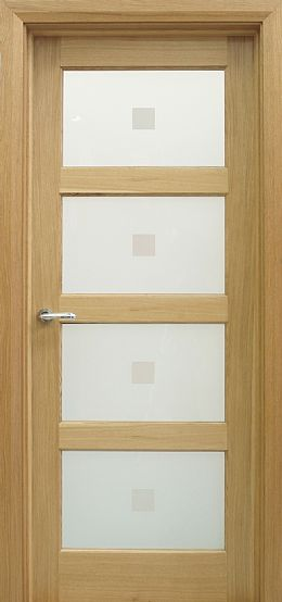 Contemporary 4 Lite White Oak Door (40mm)